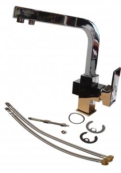 3-Wege Wasserhahn, Küchenarmatur aus Edelstahl für heiß/kalt und gefiltertes Trinkwasser